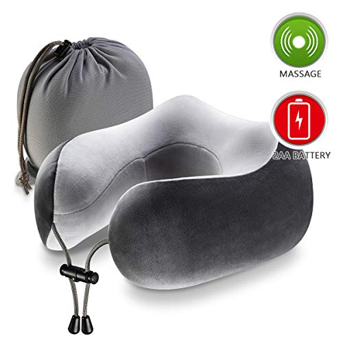 Chic Now Airplane Pillow, Memory Foam Travel Pillow for Neck and Chin Support, Comfortable Vibration Massage, Super Soft Neck Support, Grey