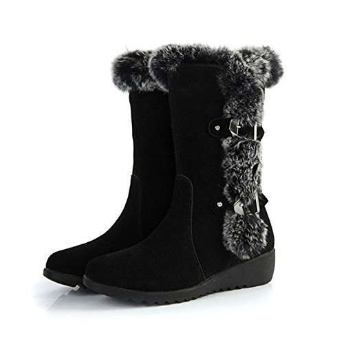 Ifantasy Women's Slip On Buckled Warm Rabbit Fur Mid Calf Snow Boots