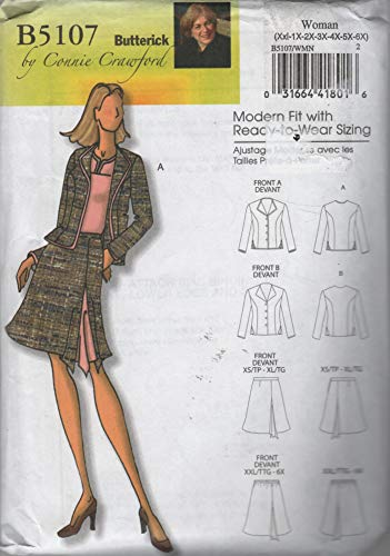 (Rated Easy, Butterick Sewing Pattern B5107 Or 5107. Womens Plus szs XXL, 1X, 2X, 3X, 4X, 5X, 6X Career Jacket & Skirt. Designs by Connie Crawford for Butterick. Uncut & Factory Folded Pattern)