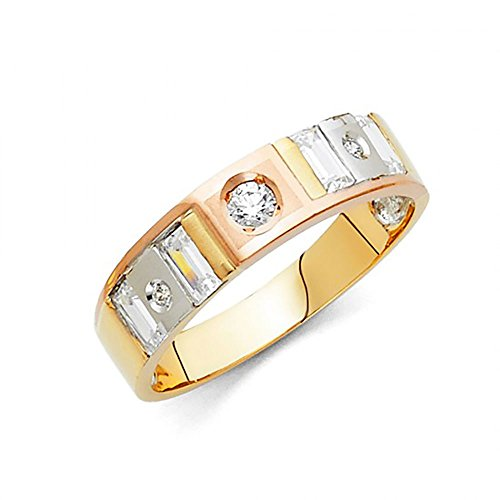 14K Tri-Color Gold Channel Set Baguette & Round CZ Men's Wedding Band