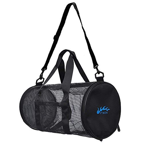 Mesh Sports Gym Bags,Mesh Duffle Bags Swimming Bags Compatiable with Wet Training Swimming Diving Gear,Dry Bag Quickly Fit to Training Gear,Beach - Mesh Boxing Bag Gym