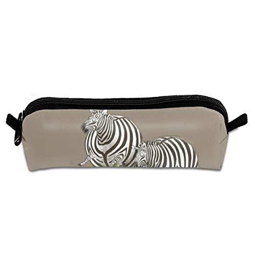 Diemeouk Pencil Case Crocodile Attack Zebra Zippered Pen Bag Cosmetic Makeup Bags for Colored Watercolor Pencils -