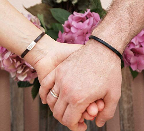 Matching Hidden Message Bracelets for Couples Custom Text Engraving]()