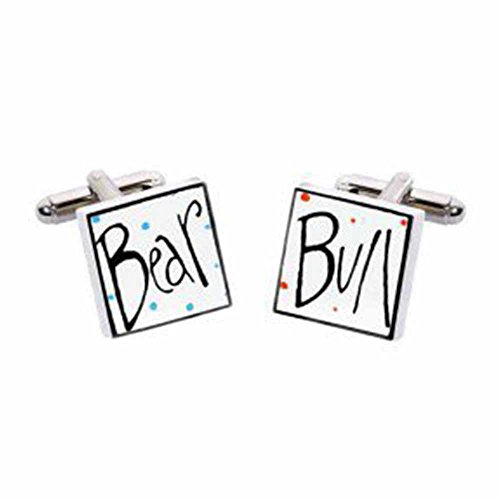 Sonia Spencer Bull & Bear Cufflinks, Fine Bone China, Handpainted, Gift Boxed. (Bull Bear Cufflinks)