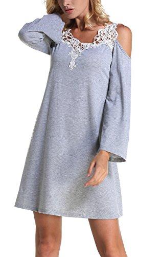 Dentelle Femmes Aranee Manches Longues Balançoire Casual Robes T-shirt Gris De Poche