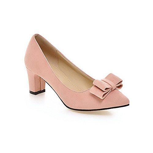 Allhqfashion Dames Geïmiteerd Suède Stevige Pull-on Puntige Dichte Neus Kitten-hakken Pumps-schoenen Roze