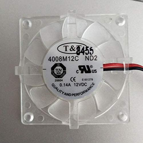 Zyvpee 40x40x08mm 4008M12C ND2 12V 0.14A 2Wire Cooler Fan 4cm 4008M12C-ND2