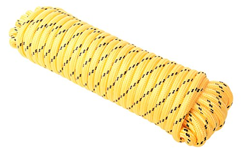 (WASONS Utility Rope Paracord Nylon Twine - 32 Strands Diamond Braided,100% New Polypropylene,max Working Capacity 330LBS, 1/2 inch,50ft and 100ft, Garden and Farm, Home (1/2 inch by 50ft, Yellow))