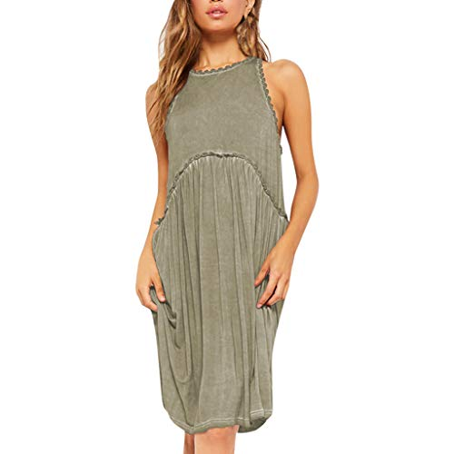 - Aunimeifly Women's Solid Color Sleeveless Round Neck Hook Edge Pleated Loose Casual Dress Khaki