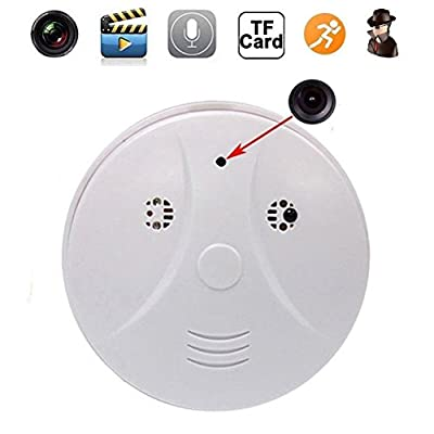 Indoor Hidden Camera Smoke Detector Full HD 1080P Motion Detection Activated Spy Mini Video Recorder Nanny Cameras and Hidden Cameras,White by Bossblue