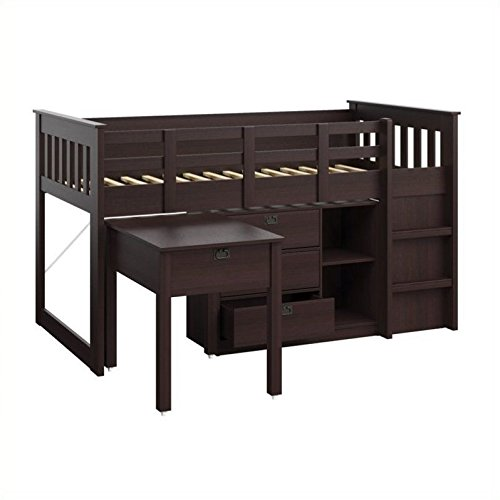 CorLiving BMG-370-B Madison Loft Bed with Desk and Storage, Single/Twin, Rich Espresso For Sale
