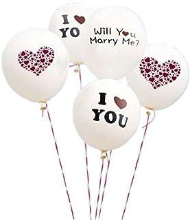 PAVILIA Boieo White Wedding Balloons, I Love You Balloons for Wedding Proposal - 5 pcs