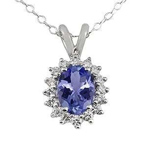 """1.25 Ct 8X6MM Tanzanite & 0.32ct Diamond (GH/SI1) Sterling Silver Pendant 18"""""""