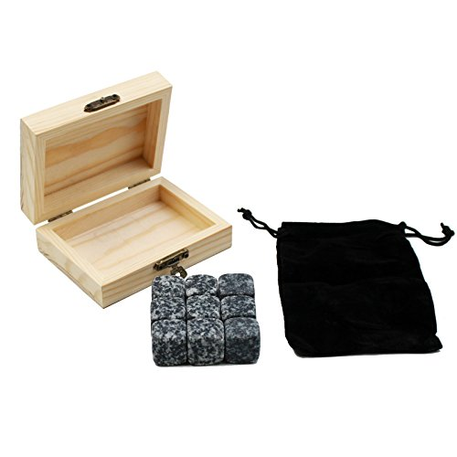 PPSTORE Whiskey Stones Gift Set - with Delicate Box+Velvet Bag Custom Whiskey Rock Beer Stones Wine Cube Engrave Free ( 9Pcs - Engrave It Store