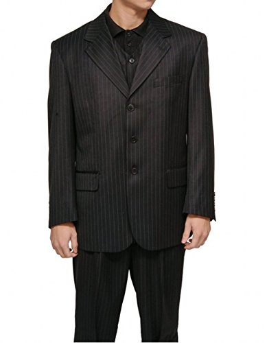 [Love Dress Men's 3 Piece Black Gangster Pinstripe Dress Suit with Matching Vest M] (Gangster Dresses)