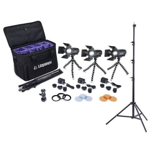 (Litepanels Caliber 3-Light LED Fresnel Kit - with Flashpoint Pro Air Cushioned Heavy Duty Light Stand 9.5')