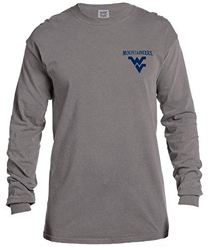 NCAA West Virginia Mountaineers Vintage Poster Long Sleeve Comfort Color Tee, Medium,Grey