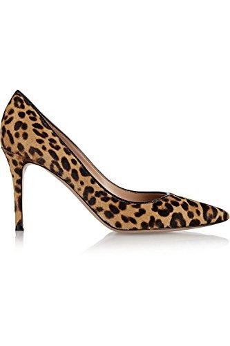 Slip Shoes Club Pumps Kevin on KLSDN180 Women's Evening Fashion Leopard Suede Party qUTCw14T