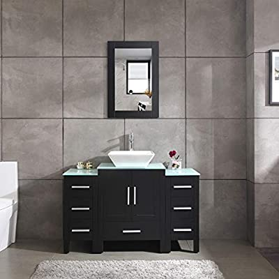 "48"" Black Bathroom Vanity and Sink Combo Single Top Vessel Sink w/Mirror Faucet and Drain"
