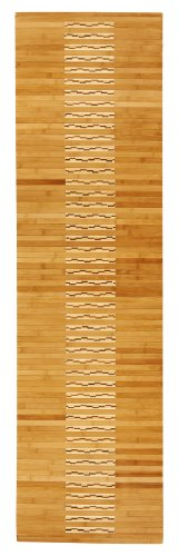 Anji Mountain Natural Fiber Wooden Slat Kitchen and Bath Mat, Natural, 20 x 72-Inch - Intricate bamboo inlay design High-gloss polyurethane finish resists water and protects the bamboo Non-skid rubber backing keeps mat in place - bathroom-linens, bathroom, bath-mats - 41%2BVBWFmnmL -