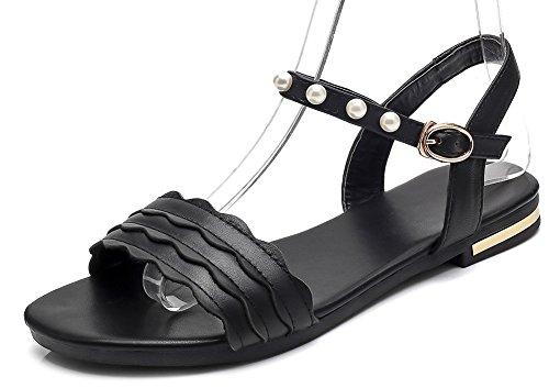 Aisun Women's Fashion Open Toe Beads Buckled Sandals Black 1