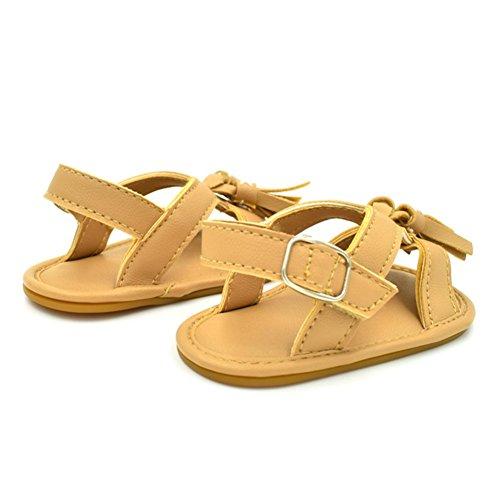 Sandalias De Bebe,BOBORA Prewalker Zapatos Primeros Pasos Para Bebe Classic Simple Flecos Sandalias De Goma De Bebe caqui