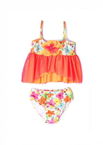 Sweet Preserves Orange - Apple Blossom by Isobella and Chloe Baby & Girl Flower Tankini 2 Piece Set (6X)