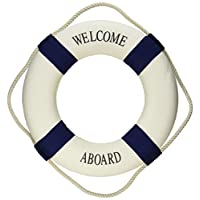 "Oliasports Welcome Aboard Cloth Life Ring Navy Accent Nautical Decor 13.5"" Ne..."