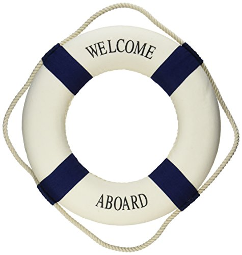 Oliasports Welcome Aboard Cloth Life Ring Navy Accent Nautical Decor 13.5