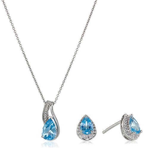 Blue Topaz With Diamond Earring - Sterling Silver Blue Topaz Pear with Diamond Pendant, Necklace and Earrings Box Set