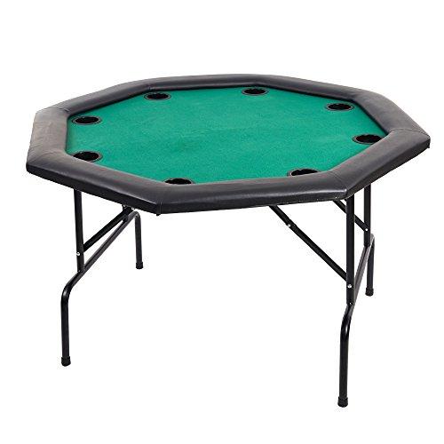 ラッキーツリー48`ラウンドポーカーテーブル8PalyerカジノブラックジャックテキサスHoldemテーブルwith Folding脚と内蔵カップホルダー、グリーン
