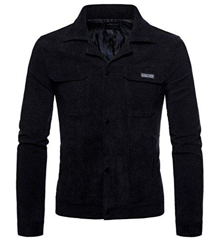 Uomo Outwear Modo A Sottile Di Cafuny Sportivo Nero Coste Velluto 1n48WwdF