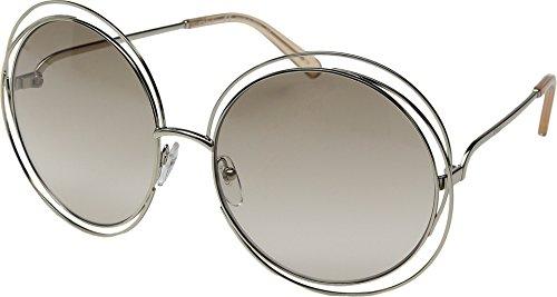 Chloe Women's Carlina Round Gold/Transparent Peach - Carlina Chloe Sunglasses
