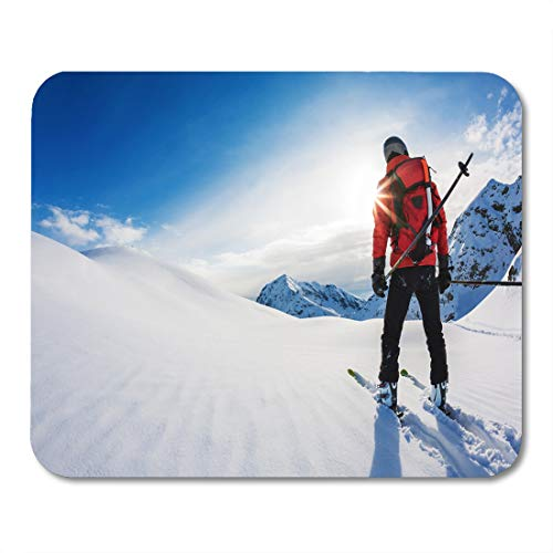 Boszina Mouse Pads Travel Red Ski Skiing Rear View of Skier in Powder Snow Italian Alps Europe White Fun Man Mouse Pad for notebooks,Desktop Computers mats 9.5