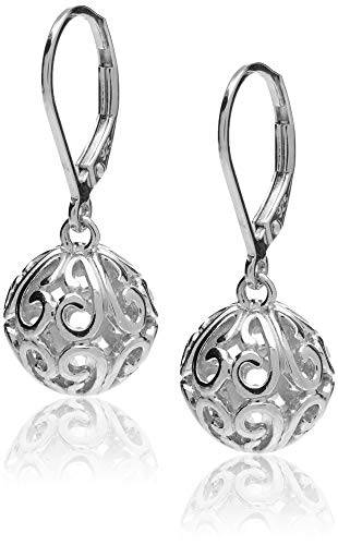 - Sterling Silver Filigree Ball Leverback Dangle Earrings