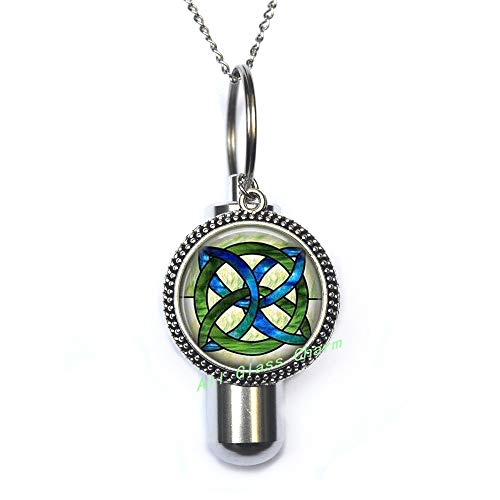 AllGlassCharm Celtic Wedding Jewelry-Stained Glass Green and Blues Celtic Knot-Celtic Knot URN-Irish Jewellery-Celtic Bridal Jewelry,AS115 ()