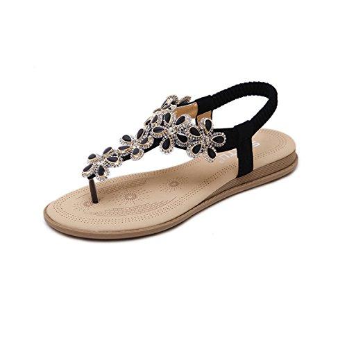 Jazlyn Women's Bohemian Flower Beaded Rhinestones Flat Sandals hot sale 2017