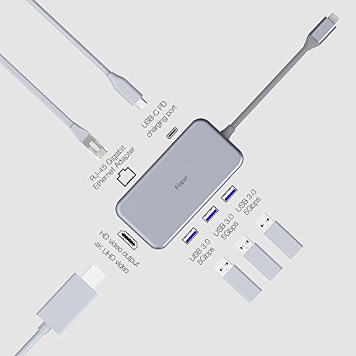 iHaper USB C Hub, USB Type C Hub with USB-C 3.1 (Power Dellvery) for Charging, Gigabit Ethernet Port, 4K HDMI Port, 3 USB 3.0 Ports for MacBook,MacBook Pro 2016/2017,Dell XPS 13 and more, Space Gray by iHaper (Image #2)