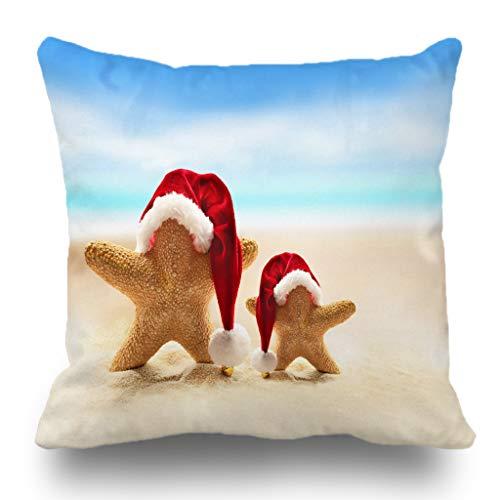 (Batmerry Merry Christmas Theme Decorative Pillow Covers 18 x 18 inch,Summer Beach Merry Christmas Starfish Santa Claus Hat Double Sided Throw Pillow Covers Sofa Cushion Cover Lumbar Pillowcase)