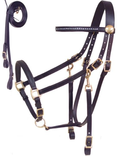 Derby Originals Rhinestone Browband Leather Halter Bridle Combo with Reins for Pony, (Leather Browband Bridle)