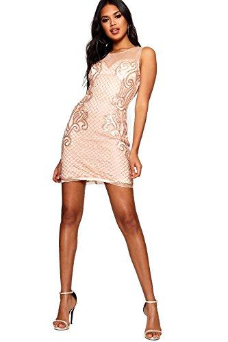 Damen Pfirsich Boutique Tana Grid Embellished Bodycon Dress Pfirsich ...