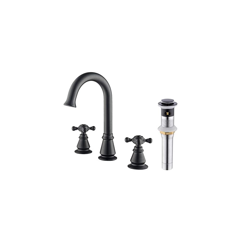 Anpean Two Handle 8 Inch Brass Widespread Bathroom Faucet 3 Holes with Pop-Up Drain and Water Supply Lines, Matte Black