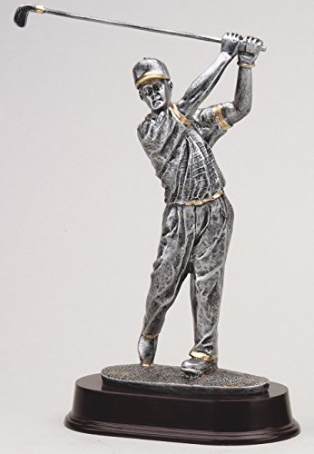 Etch Workz Customize Male Golf Swing Award - RF2053SG Series Resin Golf Trophy - Includes 3 Lines of Engraving - Gold Plated & Personalized Free