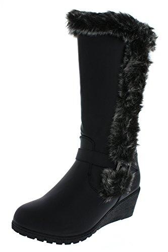 Platino Neu Ältere Mädchen/Kinder Schwarz Mode Stiefel mit Kunstpelz Nach oben Schwarz - UK Größen 1-13