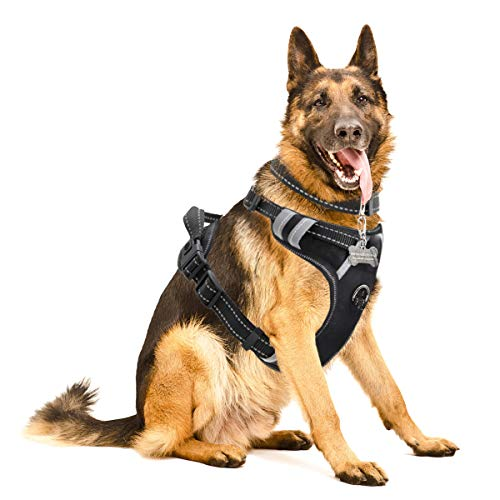 WINSEE Dog Harness No-Pull Pet Harness with Dog Collar & Front/Back Leash Clips Reflective Oxford Material Easy Control Adjustable Harness Black for Medium Large Dogs (Dog Collar Included)