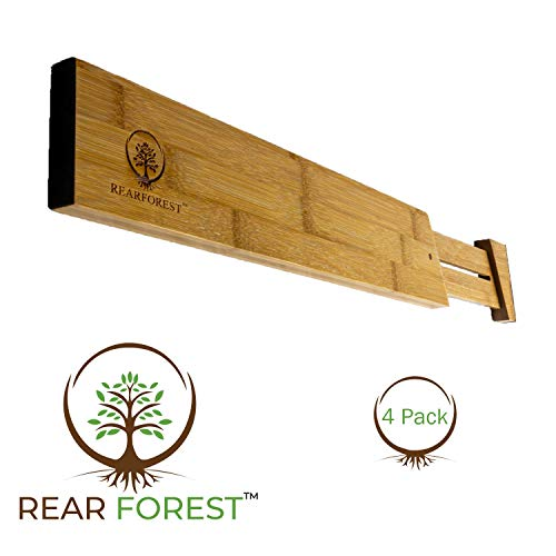 Bamboo Drawer Divider/Organizer | RearForest | Premium Quality | Set of 4 | Automatic Spring Adjustable | Stack-able | Eco Friendly | Fits Most Drawers