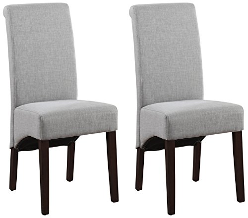 Simpli Home WS5134-DGL Avalon Contemporary Deluxe Parson Dining Chair (Set of 2) in Dove Grey Linen Look Fabric
