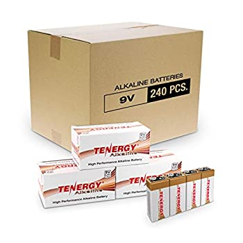 Image of 9V Tenergy 6LR61 9V Alkaline Battery, Non-Rechargeable Battery for Smoke Alarms, Guitar Pickups, Microphones and More, 240-Pack