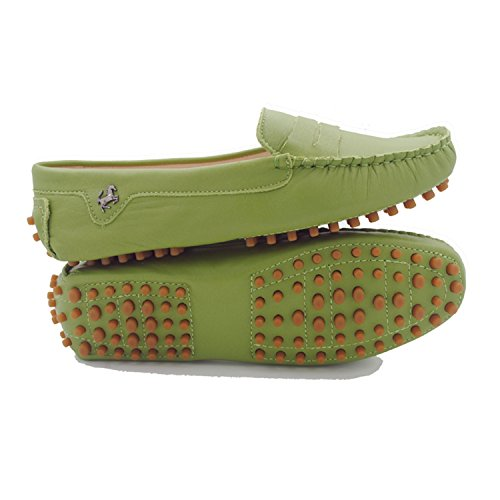 Minitoo - Mocasines de ante para mujer Leather-Olive Green