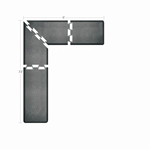 WellnessMats Puzzle Piece Collection 2 Foot Wide L Series Granite Steel Anti-Fatigue 7.5 x 6 Foot Mat